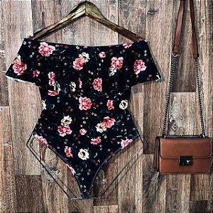 Body Feminino Babado Tropical Rosas Black