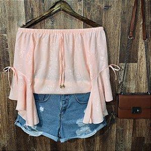 Blusa Ciganinha Manga 3|4 Lacinho Flores Rosê