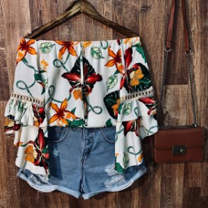 Blusa Ciganinha 3|4 Duplo Babado Tropical Off
