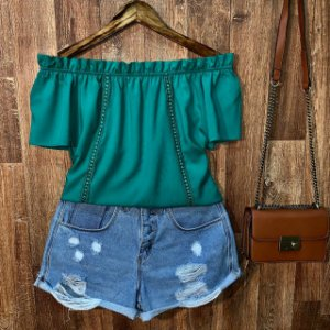Blusa Ciganinha com Renda Lisa Verde