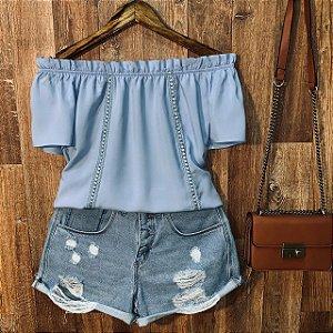 Blusa Ciganinha com Renda Lisa Azul Claro