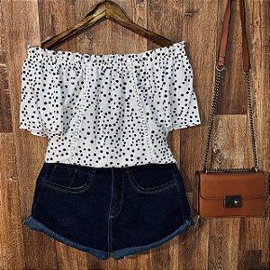 Blusa Ciganinha com Renda Tropical Poá Branca