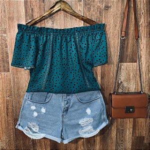 Blusa Ciganinha com Renda Tropical Poá Verde Escuro