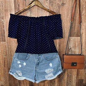 Blusa Ciganinha com Renda Tropical Poá Azul Marinho