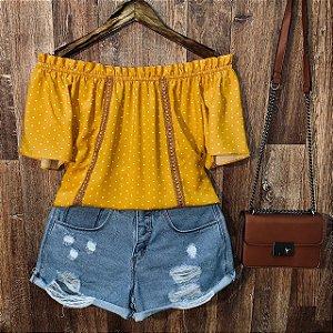 Blusa Ciganinha com Renda Tropical Poá Amarelo