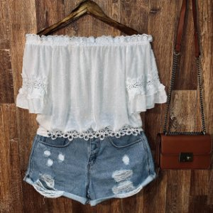 Blusa Ciganinha Cropped com Renda Fashion White