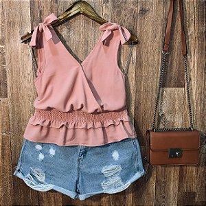 Blusa Alcinha com Lacinho Fashion Rosa