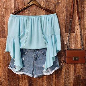 Blusa Ciganinha Manga 3|4 Renda Verde Claro