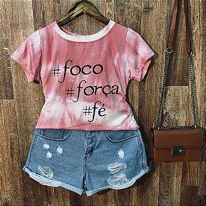 T-shirt Tie Dye Hashtag Foco Força Fé