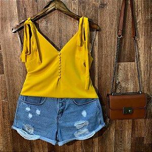 Blusa Alcinha com Botões Lacinho Fashion Yellow