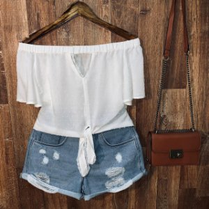Blusa Ciganinha Cropped Delicada Lara Branco