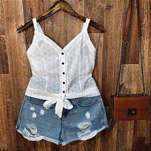 Blusa Alcinha Cropped com Botões Lara Laise Branca