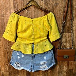 Blusa Cropped PepLun Deborah Laise Yellow