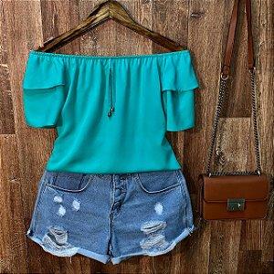 Blusa Ciganinha Dupla Manga Verde Claro