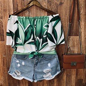 Blusa Ciganinha de Amarrar Cropped Darah Top Floral Green