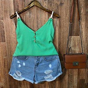 Blusa Alcinha Corda e Botões Sarah Verde Claro