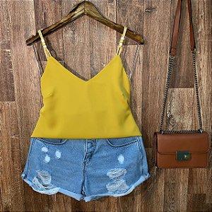 Blusa Alcinha Fashion Rebeca Amarela