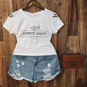 T-shirt manga curta Espírito Santo com Perolas Branca