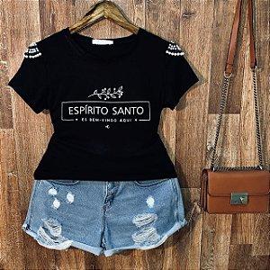 T-shirt manga curta Espírito Santo com Perolas Black