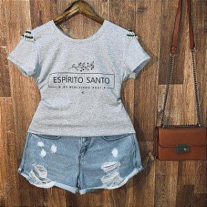 T-shirt manga curta Espírito Santo com Perolas Cinza