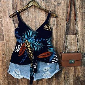 Blusa de Alcinha de amarrar LB Rebeca Floral Azul Marinho