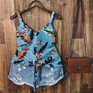 Blusa de Alcinha de amarrar LB Rebeca Floral Azul Turquesa