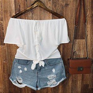 Blusa Ciganinha Cropped com Lacinho Bianca Branca