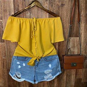 Blusa Ciganinha Cropped com Lacinho Bianca Amarela