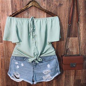 Blusa Ciganinha Cropped com Lacinho Bianca Verde Mint