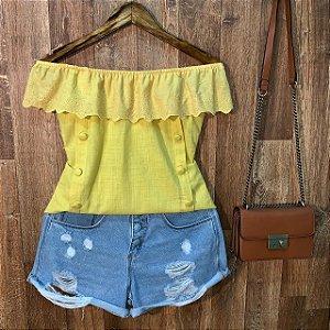 Blusa Ciganinha com Renda Bianca Amarela