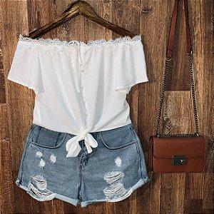 Blusa Ciganinha Cropped Renda Bianca Branca
