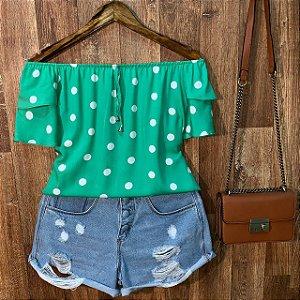 Blusa Ciganinha Dupla Manga Bianca Poá Verde