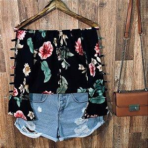 Blusa Ciganinha Manga Vazada LB Bianca Floral Black
