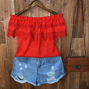 Blusa Ciganinha com Renda e Perolas Ana Vermelha