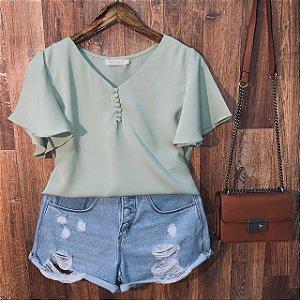 Blusa Manguinha e Botões Encapados Ana Verde Mint