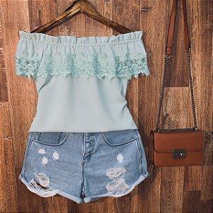 Blusa Ciganinha com Renda Ana Verde Mint