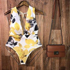 Body Regata de Amarrar com Bojo Ana Fashion Off Amarelo