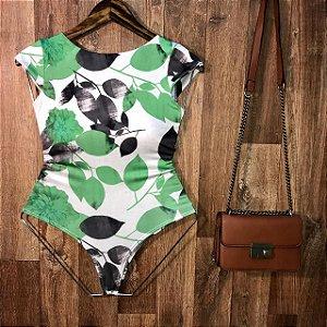 Body Manguinha com Bojo Decote U Ana Fashion Off White Verde