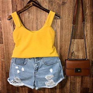 Blusa Regata Alça Com Botão Falso Lohaine Amarela