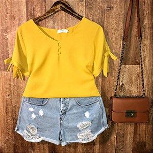 Blusa Manguinha Com Laço Lohaine Amarela
