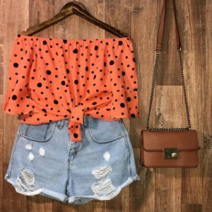 Blusa Ciganinha Cropped Lohaine Poá Orange