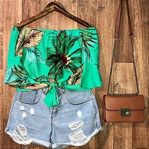 Blusa Ciganinha Cropped Lohaine Coqueiros Verde