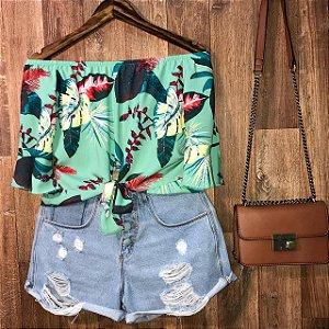 Blusa Ciganinha Cropped Lohaine Floral Verde