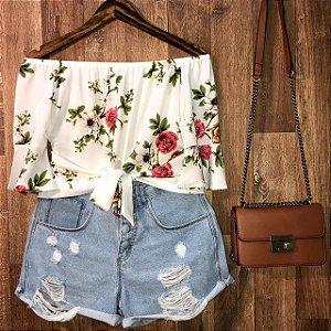 Blusa Ciganinha Cropped Lohaine Floral Branco