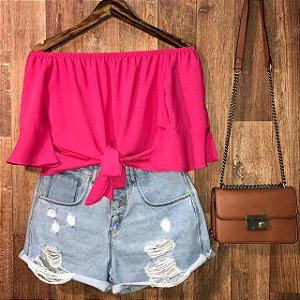 Blusa Ciganinha Cropped Pink