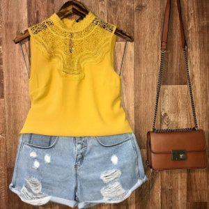 Blusa Regata com Renda Fashion Lohaine Mostarda