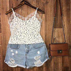 Blusa Alcinha com Rendinha Fashion Lohaine Branco