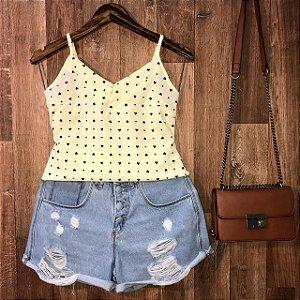 Blusa Alcinha com Botões Encapados Coração Lohaine Amarelo