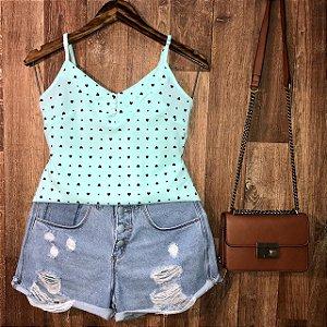 Blusa Alcinha com Botões Encapados Coração Lohaine Verde