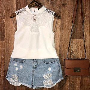 Blusa Regata com Renda Fashion Lohaine Branco